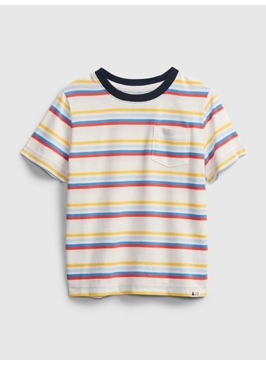 Gap Organik Pamuklu Çizgili T-Shirt Renkli